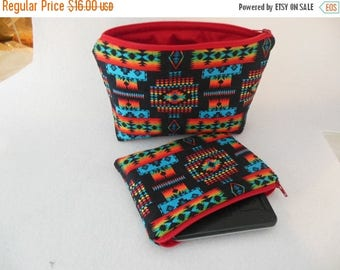Tribal Large Cosmetic Bag with Iphone pouch/Gadget pouch/Coin Pouch