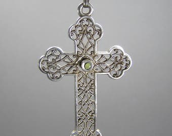 Vintage Stanhope Cross, Lourdes and Bernadette, French Cross, Gothic Clover Cross, 925 Chain, Italian Chain
