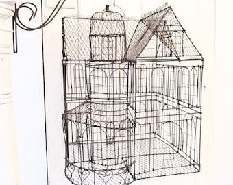 Wire Mansion - Wire House - Vintage Wire Birdcage