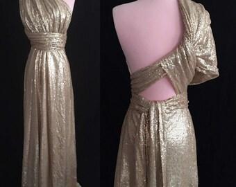 Champagne Sequins Wedding Dress ... Floor Length Convertible Dress...50 Colors... Bridesmaids, Wedding Dress, Prom Dress, Party Dress