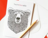 Cynical Sarcastic Valentine Card   'You're Bearable' Funny Valentine Card   Cynical Valentine Card   Card for him   Anti Valentine