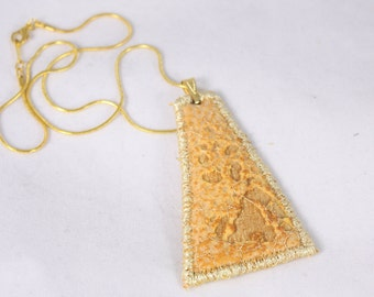 Gold fiber silk fabric pendant embroidered gold necklace burnt textured necklace embroidered unique costume jewelry textile art
