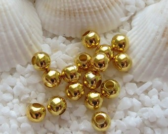 Brass Beads/Spacer Beads -  Gold Plated - 4mm - 100 pcs