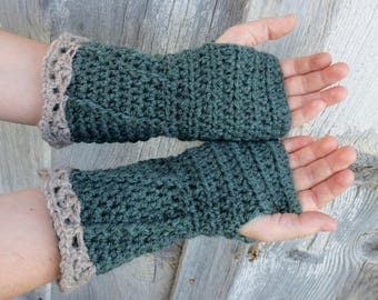 Pattern PDF for Crochet Spiral Fingerless Gloves, Arm Warmers, Forest Green and Tan in 2 Yarn weights