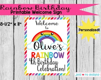 Rainbow Birthday - Printable Welcome Sign - Personalized!