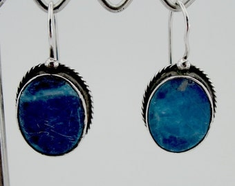 925 Elegant  Earrings, Handcrafted Silver Earrings, Blue Lazuli stone   Earrings, Long  Earrings, Israel Jewelry, birthstone(2010)