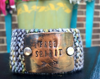 Free Spirit Custom Hand Stamped Bracelet, Grey Knitted Cuff Bracelet, Womens Wrist Tattoo Cover
