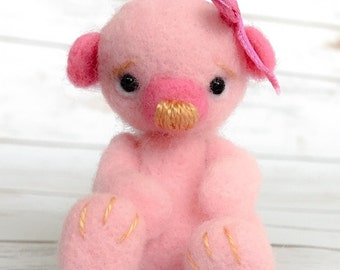 Bear Needlefelted Pink Jointed Baby Teddy Felt Sculpture
