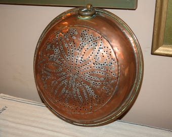 Vintage Antique Copper Colander Wall Hanging Strainer French Farmhouse Floral Hex Style Punched Design