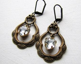 Swarovski Rhinestone Earrings Rhinestone Heart Earrings Victorian Earrings Art Nouveau Downton Abbey Jewelry Vintage Jewelry Boho Jewelry