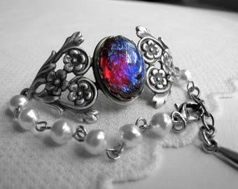 Dragon's Breath Bracelet Gothic Cuff Bracelet Fire Opal Jewelry Dragons Breath Jewelry Victorian Jewelry Downton Abbey 1920's Jewelry Wicca