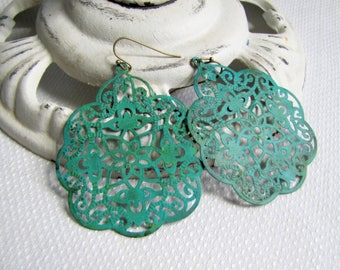 Lacey Filigree Earrings Verdigris Earrings Patina Filigree Earrings Patina Earrings Summer Beach Jewelry Turquoise Earrings Boho Jewelry