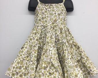 2T Toddler Cotton Dress_Vintage Green Floral