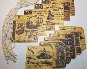 12 Vintage style Handmade Texas Theme Cardstock Tags, gift giving, in the heart of Texas, distressed looking, documents, money, olde, tag