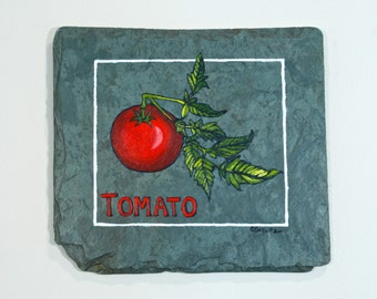 Tomato Painting on Salvaged Slate Original Kitchen Art