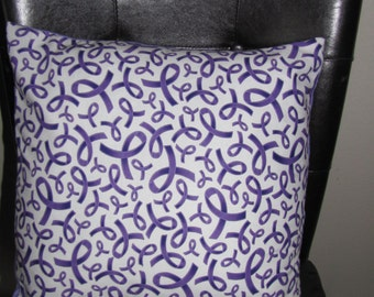 Purple Ribbon Awareness pillow Removable Cover Sham Travel Home decor Toddler Pet Bedroom