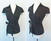 Vintage MOD Polka Dot V Neck Blouse / Size XL