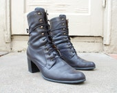 Vintage Womens 7.5 Naturalizer Black Leather Lace Up Hightops Military Combat Work Boots Heels Boho Hipster Riding Roper Campus Tall Boots