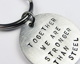 Steel Anniversary Gift - Stainless Steel Keychain - Romantic Stronger Together Key Chain