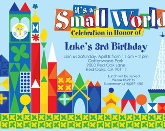 """it's a small world birthday party invitation """"primary"""" - printable 4x6 or 5x7"""