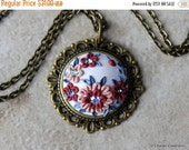 BOXING SALE Polymer Clay Applique Statement Pendant Necklace in Dusty Rose and Blue