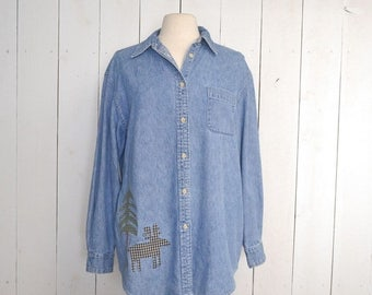 Flash Sale 25% Off Denim Chambray Button Up Early 90s Cherokee Woodland Scene Patchwork Long Sleeve Shirt Medium Large