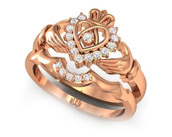 Rose Gold Claddagh Ring, Claddagh Ring Set, Claddagh Engagement Ring, Wedding Ring Set, Women Celtic Ring, Claddagh Ring Cubic Zirconia
