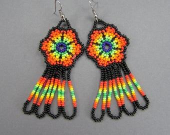 Vintage Huichol Earrings, Woven Seed Bead Earrings, Vintage Ethnic, Mexican Jewelry, Statement Earrings