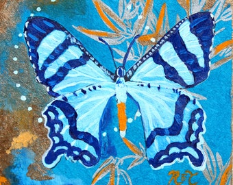 "Blue Butterfly 11"" by 11"" PRINT - insect art, blue, gold, butterfly painting, bug painting, wildlife, nature art"