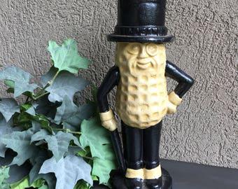 Vintage Planters Mr Peanut Cast Iron Bank Door Stop Metal Doorstop - #F5111
