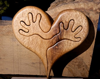 Wood Carved Black Oak heart wall plaque.