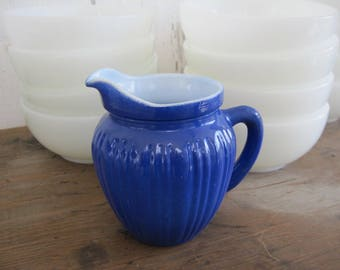 Vintage Cobalt Blue Creamer Mini Pitcher Small Ribbed Milk Glass Hazel Atlas Fired On Color Farmhouse Vase