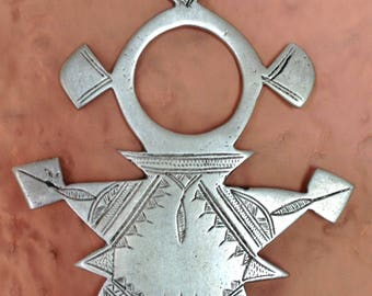 African Traditional Silver Jewelry, Tuareg Jewelry,  Old RARE LARGE Tuareg Compass Cross wih Leather Cord