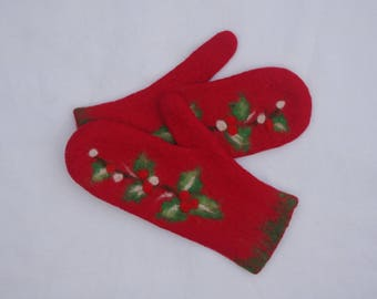 Felted Mittens Merino Wool Red Christmas Berries