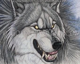 Snarling Silver Werewolf Miniprint