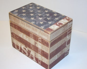 Recipe Box, American Flag Recipe Box, 4x6 Recipe Box, Vintage Flag Box, Stars and Stripes, Red White & Blue Kitchen, Patriotic Box, USA Box