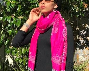 SILK Fair Trade Reversible Scarf Hot Pink and Gray Paisley