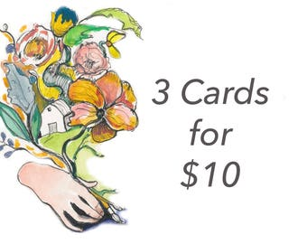 3 cards of your choice 10 dollars, portrait and Inspiring quote, 5x7 card, Ready to Ship
