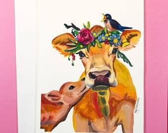 Mamma Cow, 5x7 card, Ready to Ship greeting card