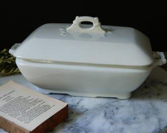 Antique English White Ironstone Covered Serving Dish. L&C. Challinor, England. Cottage. Home Decor. Traditional. Farmhouse.