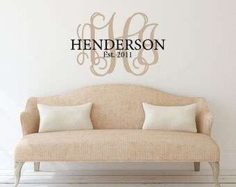 Family wall decal Monogram family name year established Personalized vinyl wall decal sticker