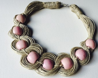 Roses Necklace - linen necklace