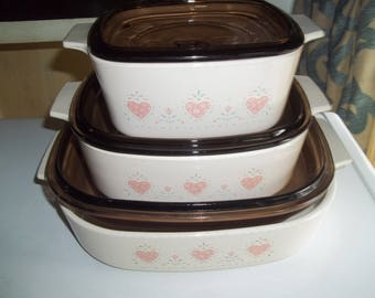 3 Piece Forever Yours, Corning Ware A-10-B, A-1 1/2-B, 1-A-B Casserole Dish with Pyrex Brown Lids