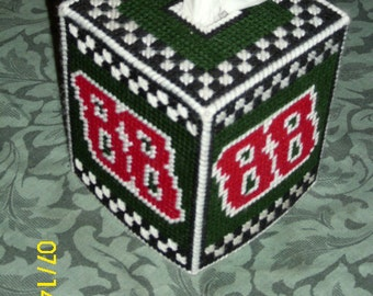 Dale Earnhardt Jr Plastic Canvas Tissue Box Cover