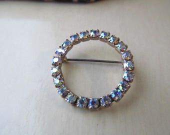 Vintage AB Rhinestone Circle Brooch Pin