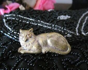 Vintage Gold Tone Brass Cat Brooch Pin Kitty Cat