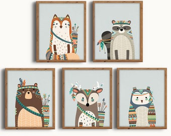 Boho Tribal Nursery, Tribal Nursery Set, Forest Animals Set, Tribal, Forest, Boho, Nursery Art, Wall Art, Nursery Decor, Instant Download