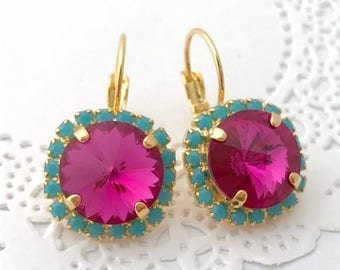 FUCHSIA Earrings // Hot Pink 12mm Swarovski Crystal Earrings // Magenta Wedding Crystal Halo Earrings // Pink Bridesmaids Earrings