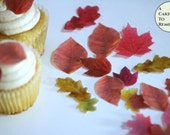 """24 small edible leaves for cupcakes, small 1/2""""-1.25"""" sizes, various colors. Fall wedding decor cake topper leaf image. Edible autumn leaves"""