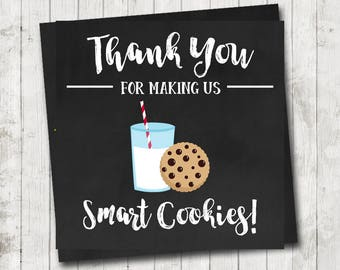 Smart Cookies Teacher Appreciation Week Thank You Tag 3 inch Square Tag Instant Download Teacher Appreciation Gift Idea Printable Chalkboard